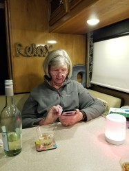 Linda on her phone